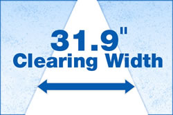 """31.9"""" clearing width, 21.7"""" clearing height"""
