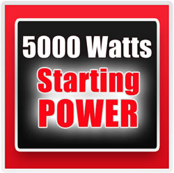 Provides 5,000 watts for 10 sec to start larger equipment