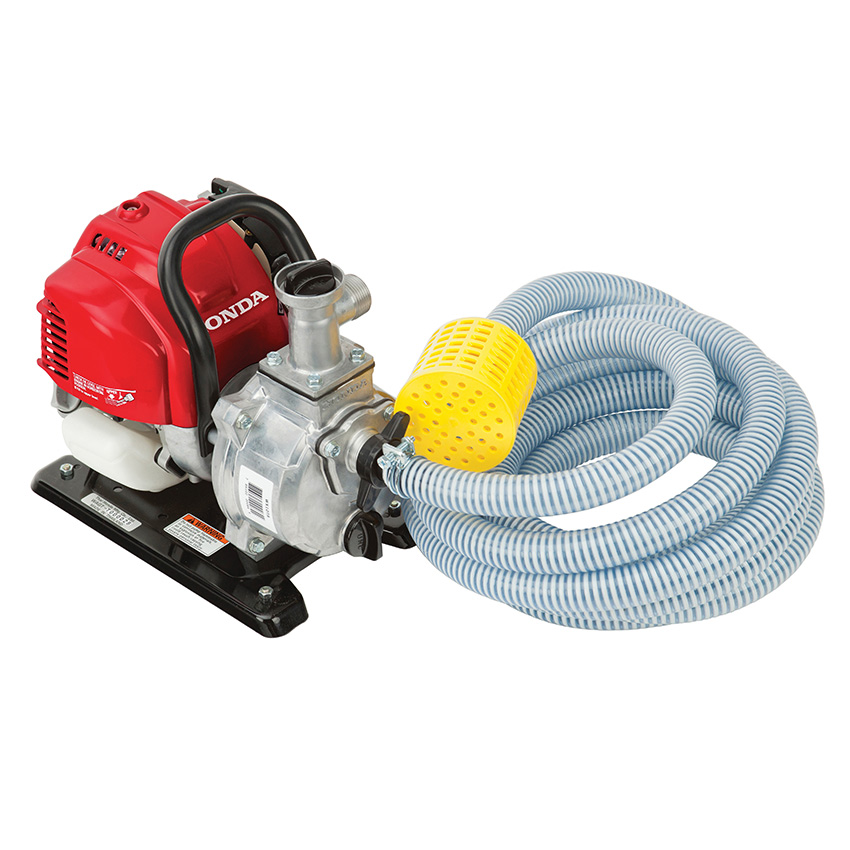 Garden hose adaptor, suction hose, clamps, and strainer included
